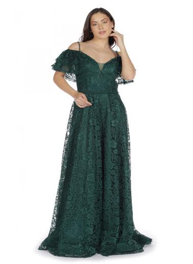 Pierre Cardin Dantelli Düşük Kollu Uzun Abiye Elbise Yeşil